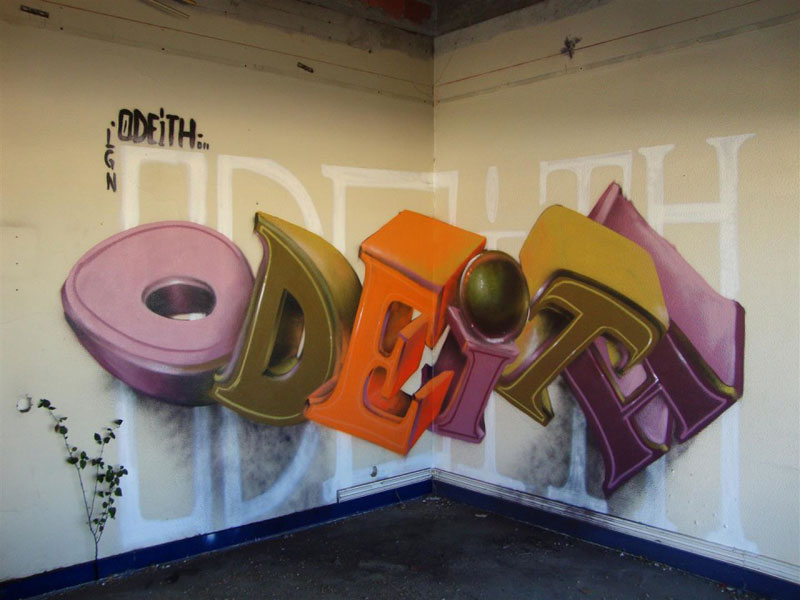 anamorphic graffiti murals that leap off the wall by odeith 3 These Artworks Come to Life When You Place a Mirror On It