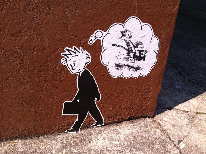 calvin and hobbes street art in portland calvin in suit dreaming of childhood Picture of the Day: Calvin and Hobbes Street Art in Portland