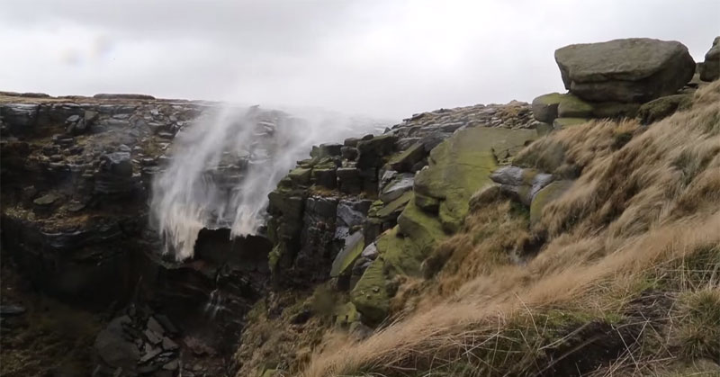 You Know It's Windy When Waterfalls are Being Blown Upwards