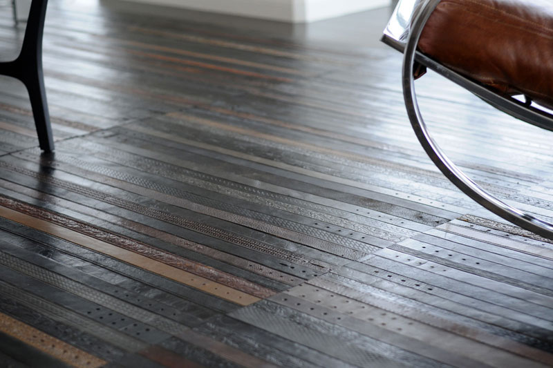 flooring rugs made from old leather belts by ting 2 A Flower Pot That Grows as the Plant Does