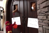 For Halloween These Guys Made a Giant Door Monster to Hand out Candy
