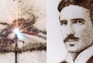 Tesla Portrait Made from Sparks of Electricity