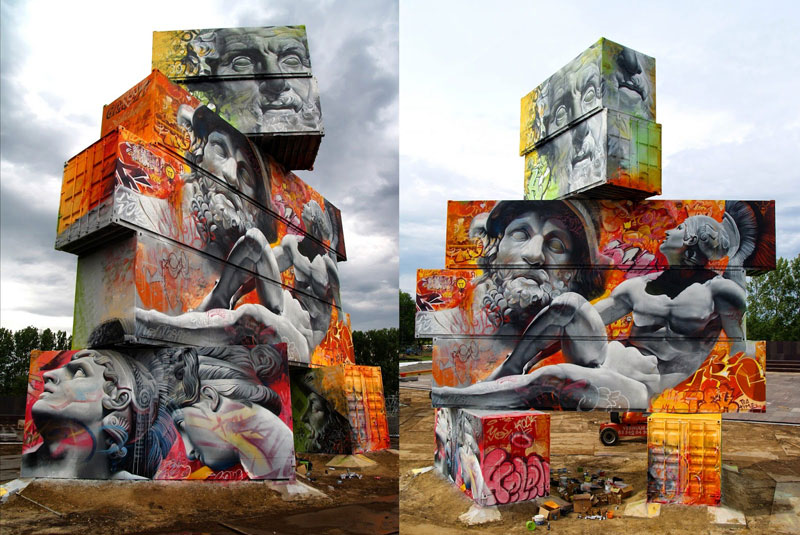 shipping container gods graffiti street art by pichi and avo north west walls belgium 2014 (7)