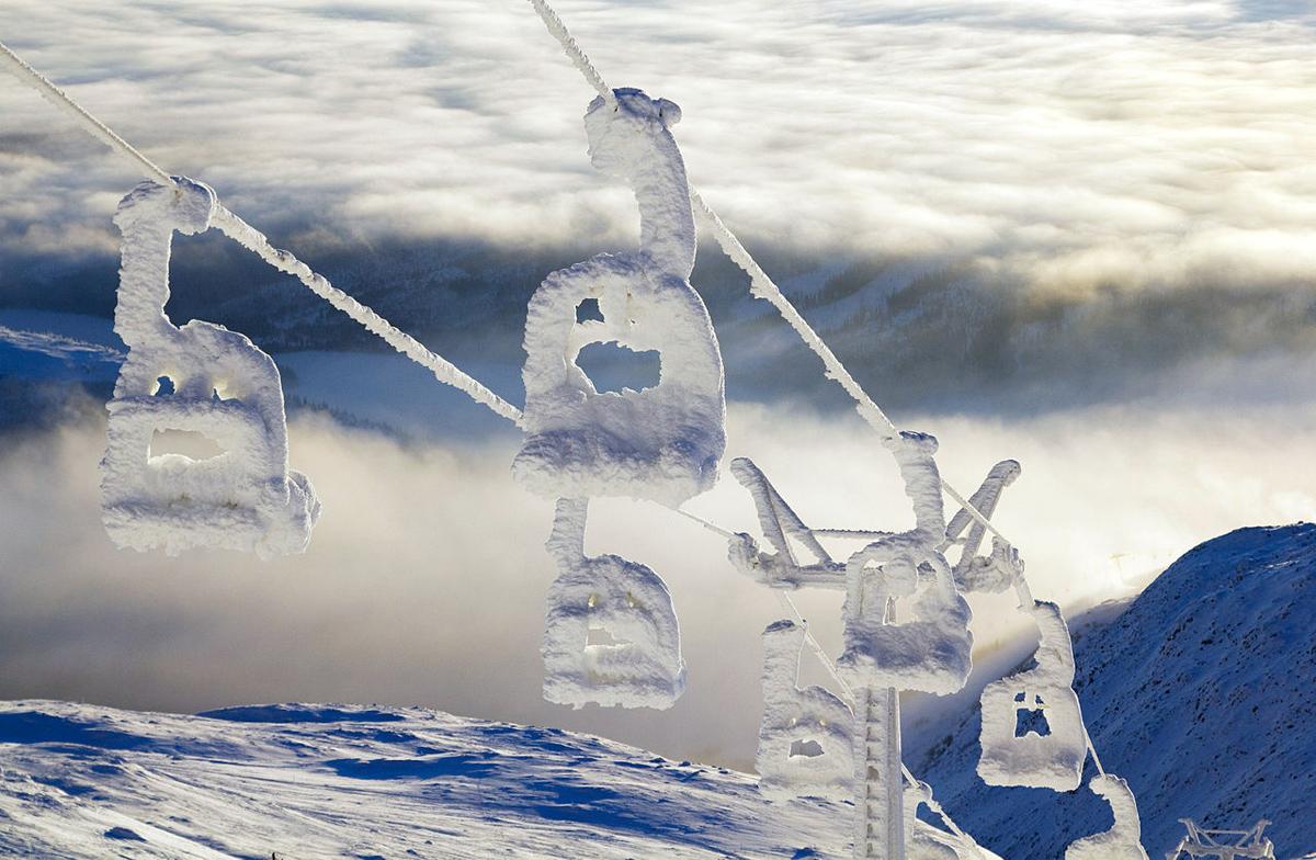 snow covered ski lift areskutan sweden