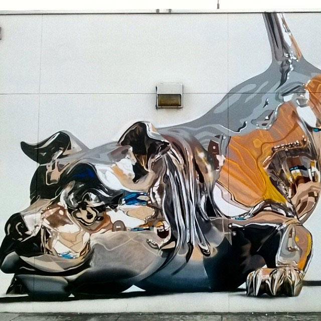 chrome dog mural by bikismo art basel miami 2014 (5)