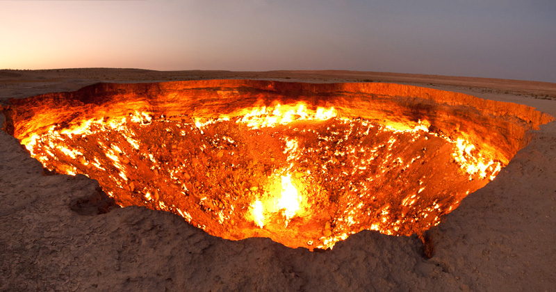 There's a 225 ft Gas Crater in Turkmenistan That's Been Burning Since 1971