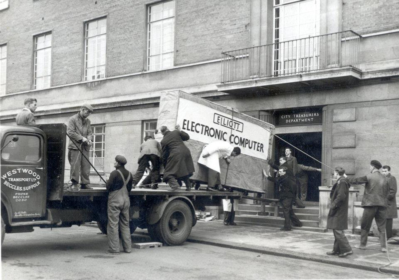 delivering an elliott 405 computer in 1957 black and white norwich