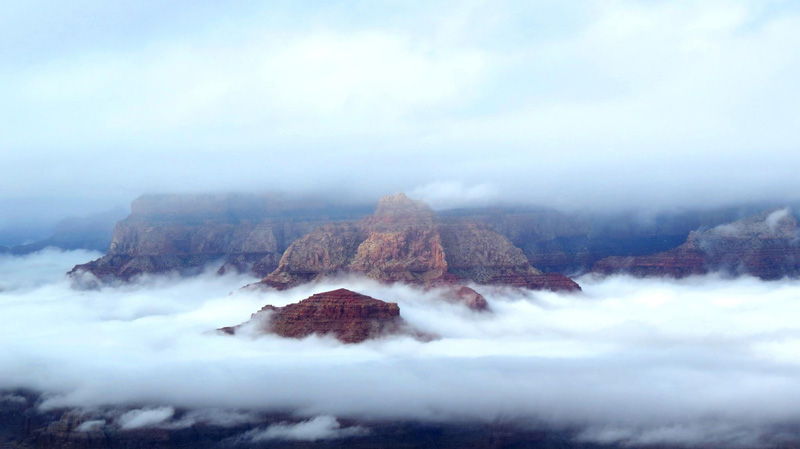 grand canyon filled with clouds inversion 2014 (1)