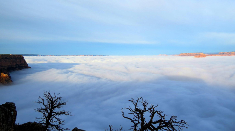 grand canyon filled with clouds inversion 2014 (3)