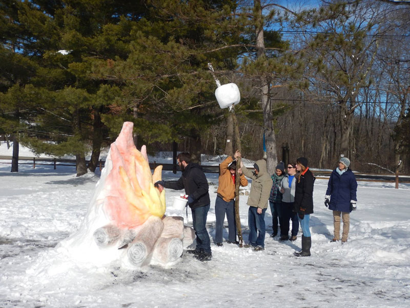 Giant Fire and Marshmallow Out of Snow by shaffer art studio (3)