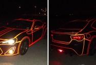 Guy Makes Tron Car Using Reflective Vinyl Tape