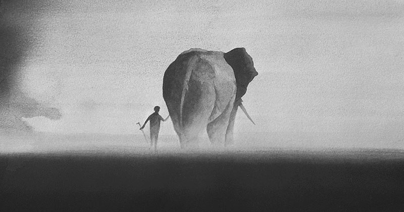 Ethereal Black and White Watercolor Paintings by Elicia Edijanto
