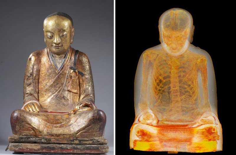 CT Scan Reveals Buddha Statue is Actually a Tomb for a Mummified Monk