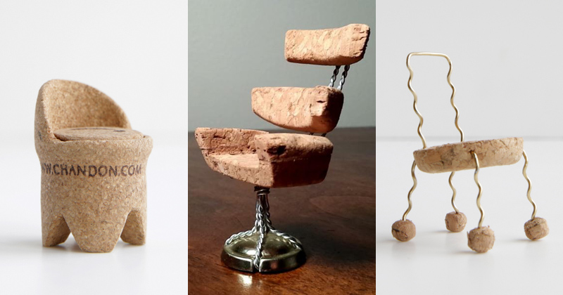 17 Miniature Chairs Made from Champagne Corks