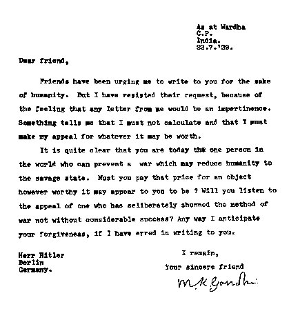 gandhi letter to hitler 20 Amazing Letters Worth Reading