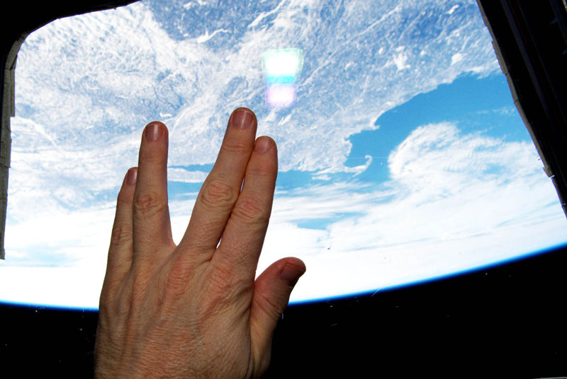 live long and prosper from iss space nasa Picture of the Day: Astronaut Salutes Nimoy From Space