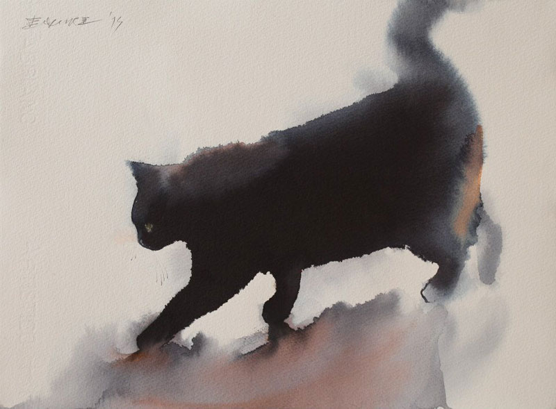 watercolor cats by endre penovac (6)