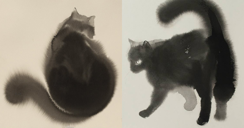 Watercolor Cats by Endre Penovac