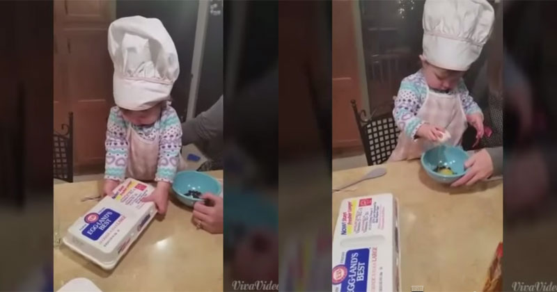 Baby Cracks a Perfect Egg on Her First Try Ever