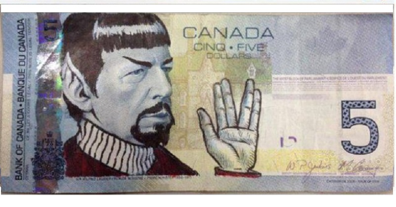 Canadians Pay Nimoy Tribute by Drawing Spock on $5 Bills