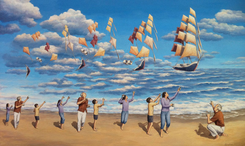 surreal optical illusion paintings by rob gonsalves (1)