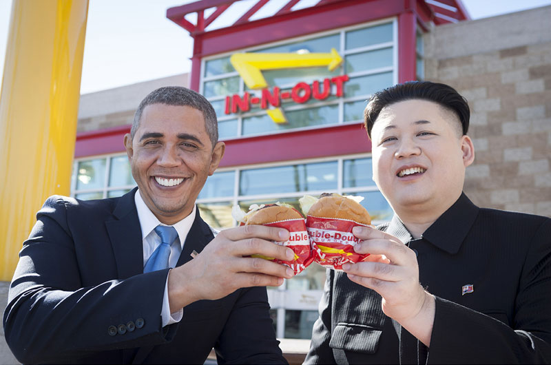 Barack Obama and Kim Jong Un Impersonators Meet in LA (7)
