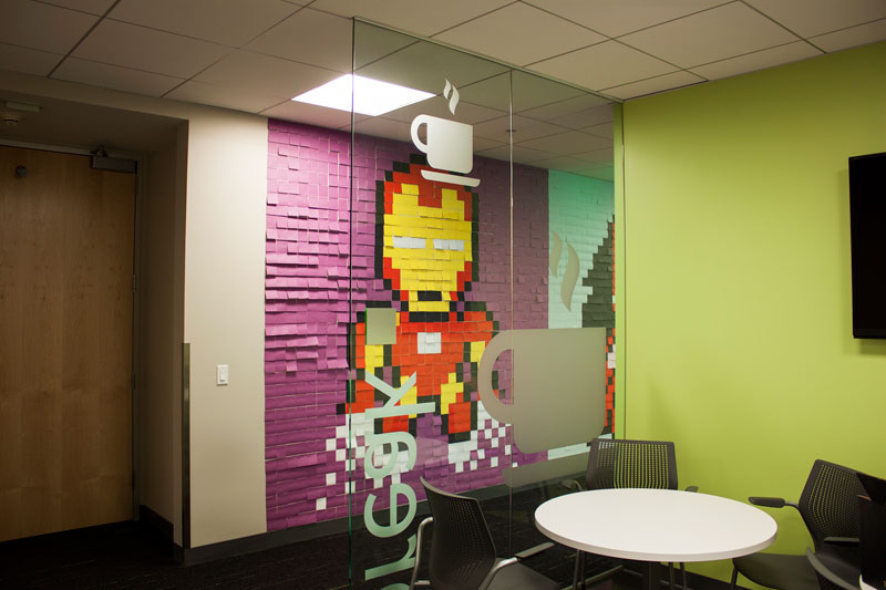 Employee Uses Post-Its to Turn Drab Office Walls Into Giant Superhero Murals (18)