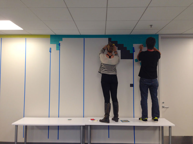 Employee Uses Post-Its to Turn Drab Office Walls Into Giant Superhero Murals (5)