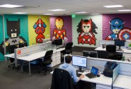 Employee Uses 8,024 Post-Its to Turn Drab Office Walls Into Giant Superhero Murals
