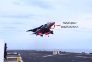 Harrier Jet Pilot Makes Incredible Landing Without Nose Gear