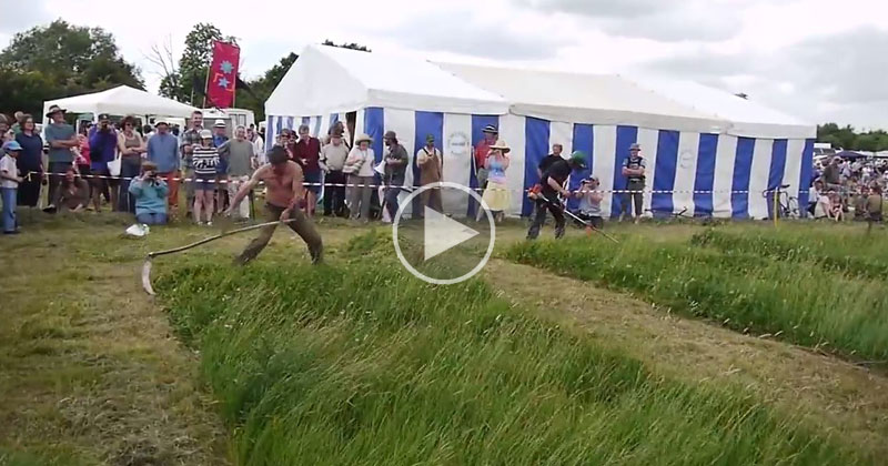 Old School Cool: Guy with Giant Scythe Takes on a Brush Cutter