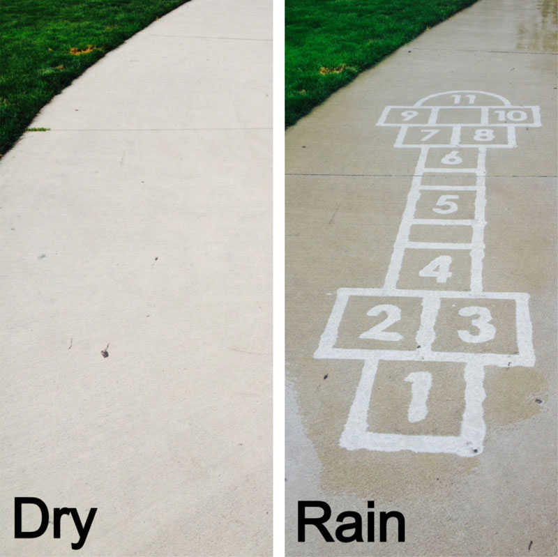 sidewalk art only appears when it rains peregrine church rainworks (7)