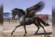 A Steampunk Pegasus Made from Scrap Metal