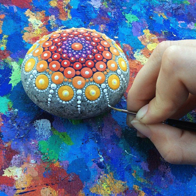 1898170 874556549268980 1935013154410227652 n Artist Finds Beautiful Beach Stones and Covers Them in Tiny Dots of Paint