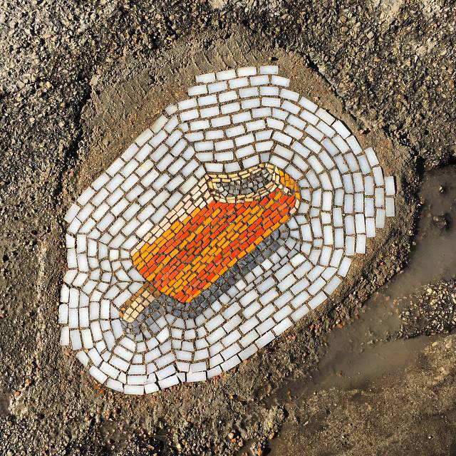 Artist Bachor Fills Potholes with Food and Flower Mosaics (10)