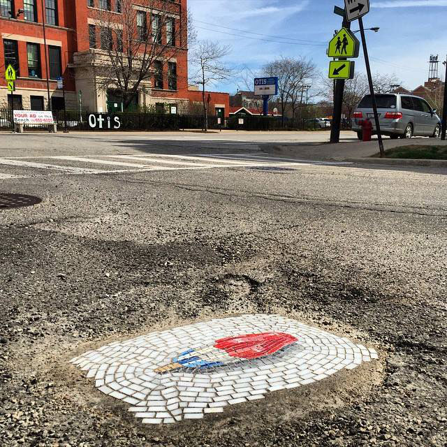 Artist Bachor Fills Potholes with Food and Flower Mosaics (11)