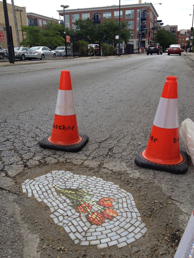 Artist Bachor Fills Potholes with Food and Flower Mosaics (16)