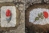This Artist is Filling Potholes with Food and Flower Mosaics