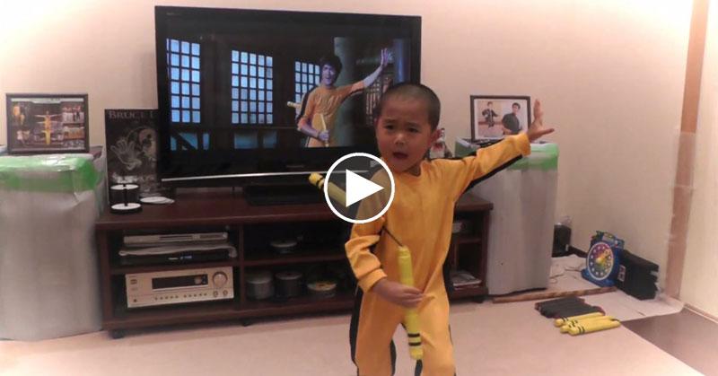 'Bruce Lee' Kid Perfectly Recreates His Idol's Famous Nunchaku Scene