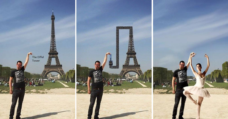eiffel tower finger photoshop guy A Woman Just Uncovered Rihannas Fashion Muse... Its Characters from the Mario Universe