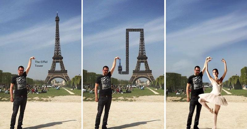 eiffel tower finger photoshop guy Please Photoshop Away the Kid (21 Photos)