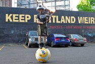 Just a Guy Riding a Giant Ball Playing Star Wars with a Flaming Bagpipe
