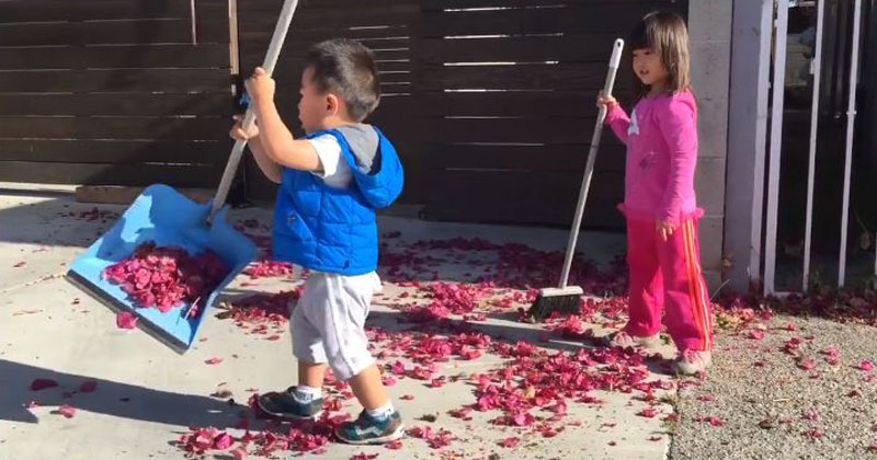 Little Brother Tries to Help Clean Up, Spreads It Everywhere Instead