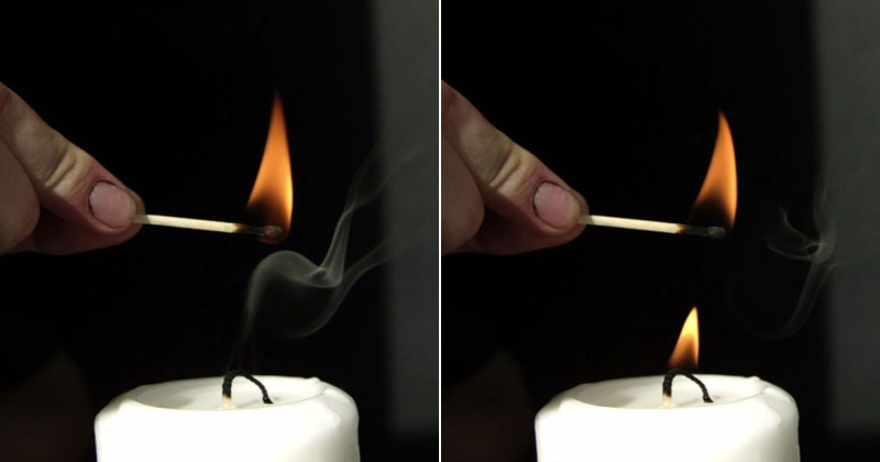 Lighting Candle Smoke in Super Slow Motion