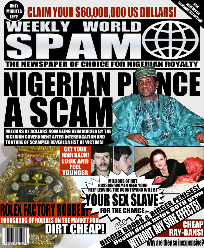 artists turn spam headlines into tabloid covers (2)