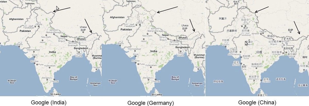 google maps different borders depending on country you are viewing from 32 Maps That Will Teach You Something New About the World