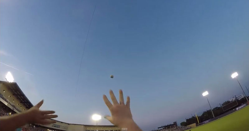 Guy Barehands a Line Drive While Wearing a GoPro
