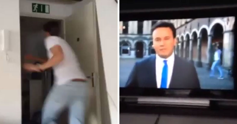 Guy Watching TV Sees Live Broadcast Near His House, Runs Full Speed and Videobombs It