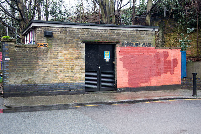 Street Artist mobstr and City Worker Have Year Long Exchange on Red Wall in London (19)