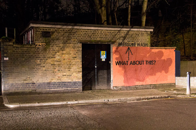Street Artist mobstr and City Worker Have Year Long Exchange on Red Wall in London (20)